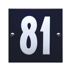 HE-53 blauw wit emaille huisnummer 'Tiel'