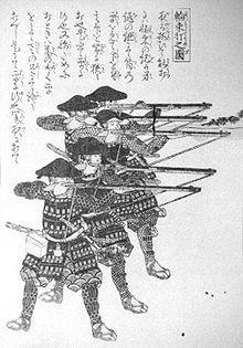 Ashigaru disparando arcabuces Tanegashima