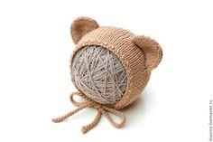 Купить Шапочка с ушками Медвеженок для фотосессии новорожденных - шапочка детская, шапочка для фотосессий, шапочка для новорождённых