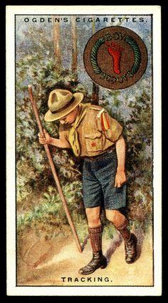 "Cigarette Card - Boy Scouts ~ Tracking      Ogden's Cigarettes ""Boy Scouts"" (series of 50 issued in 1929)  #49 Tracking"