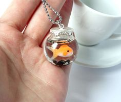Orange goldfish fishbowl necklace handmade from glass bottle and polymer clay