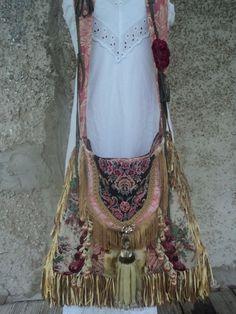 Large Handmade Boho Bag Hippie Fringe Tote Gypsy Cross Body Tassel Purse tmyers #Handmade #MessengerCrossBody