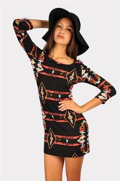 Aztec To Eskimo Dress  - Black