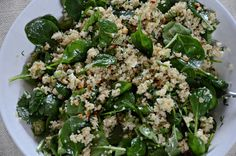 spinach and quinoa salad with feta and dill (aka, spanakopita without the guilt)