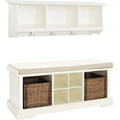 A perfect addition to your mudroom or entryway, this charming set features a white-finished wall shelf and storage bench. Use the wicker baskets and cubbies ...