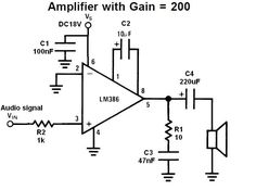 Component, Lm386 Audio Amplifier Circuit Diagram Simple