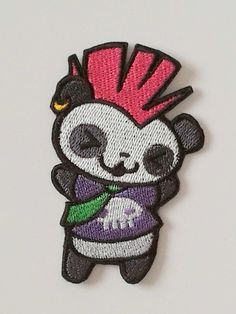 Cute punk panda ironon patch with pink hair. by JaneAtNumber13