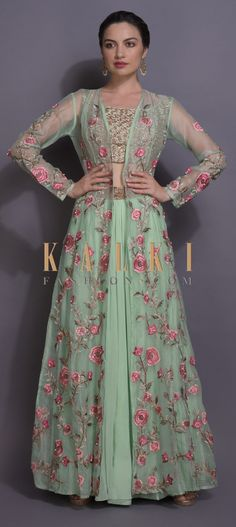 Mint Green Lehenga And Crop Top With Floral Embroidered Long Jacket Online - Kalki Fashion Plain Lehenga, Lehenga Crop Top, Green Lehenga, Lehenga Choli, Bridal Makeover, Beautiful Suit, Sleeveless Crop Top, Long Jackets, Jackets Online