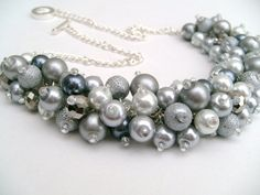 Silver Gray Pearl Beaded Necklace with Slate Gray and by KIMMSMITH