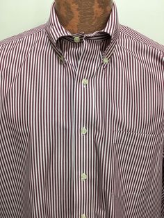 Brooks Brothers 16 1/2 - 35 Red White Striped Button-Down Cotton Shirt Non-Iron #BrooksBrothers