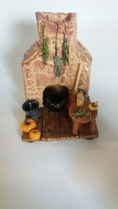 Witches Kitchen with Chimney & Cone Holder Cauldron, Handcrafted Sculpture, Pagan Diorama