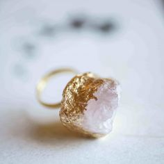 Gold leaf and quartz ring