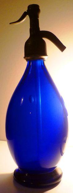 ANTIQUE PONTIL OVOID COBALT BLUE SELTZER SODA BOTTLE SIPHON SYPHON SIFON FLASCHE