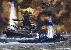 Painting of Japanese battleship Yamato under American attack.