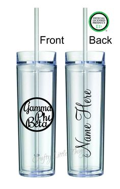 *OFFICIAL LICENSED PRODUCT* Gamma Phi Beta Circle Border personalized tumbler with the design as shown. You pick your color. Add a name to the back if youd like. Color design and name will be the same color.  This is 1 tall skinny acrylic tumbler with a straw and lid. These very nice sturdy acrylic tumblers.  *16 oz tumbler *BPA free *Hand wash only *Cold liquids only *Double wall  We use a high quality outdoor vinyl, so your design will stay put for a long time, with proper care.  Please…
