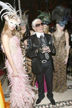 Roberto Cavalli (dresses as designer Karl Lagerfeld) at the Cavalli Cipriani Halloween Ball 2007 hosted by Roberto Cavalli and Giuseppe Cipriani on October 31, 2007 in New York City.