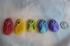 Rainbow Family of Hand Painted Rock Owls Made from the Finest Lake Rolled Rocks and Painted with Love.