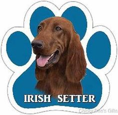 E & S Pets Paw Magnet Irish Setter MPN: 13125-84 BREED: Irish Setter CONDITION: New SIZE: 5 x 5 in MATERIAL: High Quality Magnetic Vinyl High quality, UV coated car magnets. Great for Cars, Trucks, Re