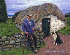 Color Print of Oil Painting, Farmer Dog Irish Scene 160, Ireland