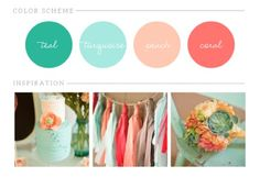 Coral, Peach, Turquoise and Teal wedding inspiration