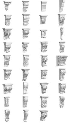 Set of 34 carved corbel models - classic moulding for ornate interior and facade decorations in Max and other editors for interior visualizations. Detail Architecture, Architecture Concept Drawings, Classic Architecture, Ancient Greek Architecture, Historical Architecture, Architectural Antiques, Architectural Elements, Stone Decoration, Steinmetz