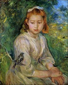Paintings that remind me of myself...~M //Pierre-Auguste RENOIR - La jeunne fille à l'oiseau