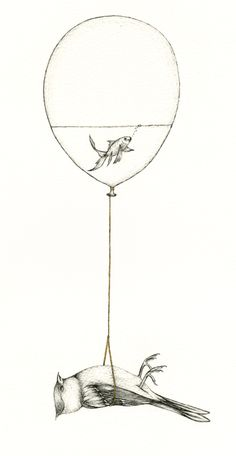 Sky Burial - This is how i like to imagine sky burials. A goldfish in a balloon carrying a dead bird into the sky.