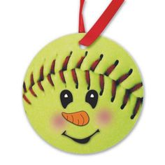 """This adorable fastpitch softball snowman porcelain ornament is a unique gift and creates a memorable keepsake. Use as an ornament for your tree or as a gift tag to add that special touch to a gift. Our snowman ornament measures 2.8"""" diameter and is made of high quality porcelain. Imprinted in rich full color and includes a ribbon for hanging. #softballgifts #fastpitchsoftball"""