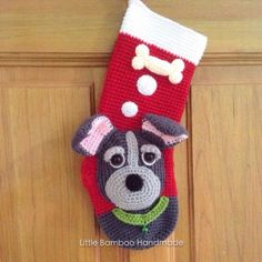 Ravelry: My Cute Dog Christmas Stocking pattern by Little Bamboo Handmade Pet Christmas Stockings, Christmas Stocking Pattern, Christmas Cats, Crochet Christmas, Holiday Crochet Patterns, Crochet Stocking, Vintage, Ornament, Crocheting