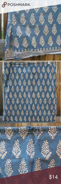 "Abercrombie & Fitch mini skirt S Cute mini skirt with drawstring Denim blue and tan pattern Waist 34"" at max, 21"" length Abercrombie & Fitch Skirts Mini"