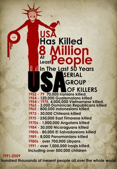 (Photo) The U. has killed at least 8 million people in the last 50 years. People only call it genocide if it happens all at once … Einstein, Crime, New World Order, Serial Killers, Embedded Image Permalink, At Least, Sayings, Words, Star Wars