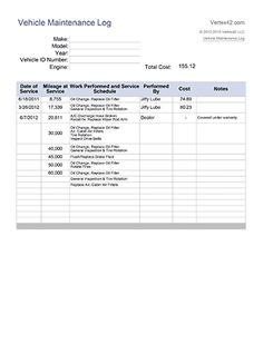 Vehicle Maintenance Log Book Template HttpWwwLonewolfSoftware
