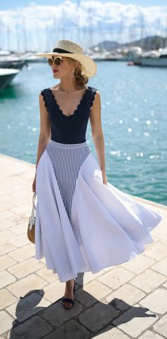 navy scalloped v-neck one piece swimsuit worn as bodysuit, navy and white mixed stripe midi skirt, classic straw wide brim sun hat, lace up ankle tie low block heel sandals {classic summer style, marysia swimwear, adam lippes, sjp collection, h&m}
