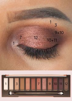 A color-by-numbers guide to Urban Decay& best-selling eyeshadow pale . - A color-by-number guide to Urban Decay& best-selling eyeshadow palette - Urban Decay Makeup, Maquillage Urban Decay, Urban Decay Naked Heat, Heat Palette Urban Decay, Urban Makeup, Urban Decay Eyeshadow Palette, Eye Makeup Tips, Skin Makeup, Makeup Inspo