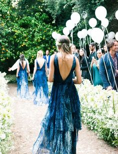 Indigo is one of the deepest and most chic colors that always looks to the point. It may be used for any wedding decor, from coastal . Peacock Wedding, Blue Wedding, Wedding Bells, Dream Wedding, Hair Wedding, Blue Bridesmaids, Wedding Bridesmaids, Wedding Dresses, Patterned Bridesmaid Dresses