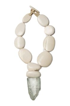 Monies bone and crystal necklace - ivory