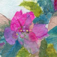 Abstract Floral Print Tissue Collage Floral Collage Turquoise Pink Rice Paper…
