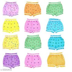 Innerwear Elegant Kid's Innerwear  Fabric: Cotton Size: Age Group (0 Months - 6 Months) - 12 in Age Group (6 Months - 9 Months) - 12 in Age Group (9 Months - 12 Months) - 14 in Age Group (1 - 2 Years) - 18 in Age Group (2 - 3 Years) - 20 in Age Group (3 - 4 Years) - 22 in Age Group (4 - 5 Years) - 24 in Description: It Has Pack Of 12 Kids Panty & Bloomer For Unisex Work: Printed Country of Origin: India Sizes Available: 0-3 Months, 0-6 Months, 3-6 Months, 6-9 Months, 6-12 Months, 9-12 Months, 12-18 Months, 18-24 Months, 0-1 Years, 1-2 Years, 2-3 Years, 3-4 Years, 4-5 Years, 5-6 Years, 6-7 Years, 7-8 Years, 8-9 Years, 9-10 Years   Catalog Rating: ★3.9 (3454)  Catalog Name: Modern Elegant Kid's Innerwear 1 Vol 8 CatalogID_499238 C59-SC1187 Code: 413-3580433-447