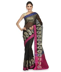 Loved it: Bunkar Black Cotton Banarasi Saree With Blouse Piece, http://www.snapdeal.com/product/bunkar-black-cotton-banarasi-saree/684712643676