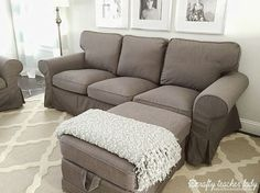 Crafty Teacher Lady: Review of the IKEA Ektorp Sofa Series-love color, multiple.ottomans?