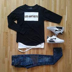 Moletom Masculino, Suéter, Camiseta Destroyed, Nike Air Max 90, Calça Biker, Calça Biker Jeans, Athleisure, o Visual Esportivo misturado no nosso dia a dia, pra inspirar! Combo Moda Masculina, Moda Masculina, Grid, Men Style,