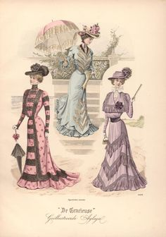 Promenade dresses, Netherlands, 1899, De Gracieuse