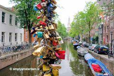 Love locks in Amsterdam (Magere Brug or Staalmeestersbrug)