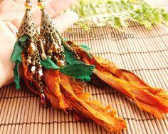 Bejeweled Upcycled Sari Silk Scrap Earrings by whiteravendesignsau, $39.00