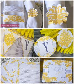 Yellow and Gray Baby Shower Printables  Gender Neutral - Damask by Press Print Party Banner, baby shower games, thank you note and napkin rings.