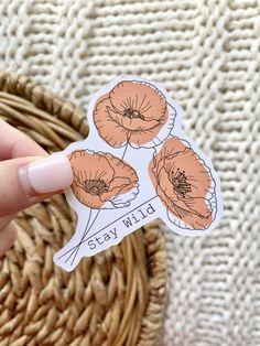 Cool Stickers, Custom Stickers, Sticker Paper, Sticker Printing, Homemade Stickers, Wild Poppies, Sticker Designs, Sticker Ideas, Mini Canvas Art