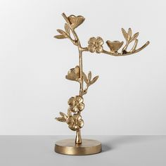 X Cast Metal Floral Jewelry Stand Gold - Opalhouse™ : Target Jewelry Roll, Jewelry Tray, Keep Jewelry, Jewelry Stand, Jewellery Storage, Jewellery Display, Gold Jewelry, Jewelry Holder, Wall Mount Jewelry Organizer