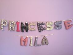 Princesse Mila en lettres tissus