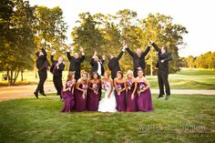 A fun outdoor wedding party picture!