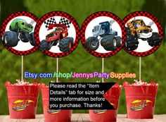 Blaze and the Monster Machines Centerpieces by JennysPartySupplies